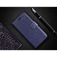 like it grab it Samsung M10 Back Case PU Classic Leather Flip Cover Case with Stand/Wallet/Card Pouch - Black (Blue)