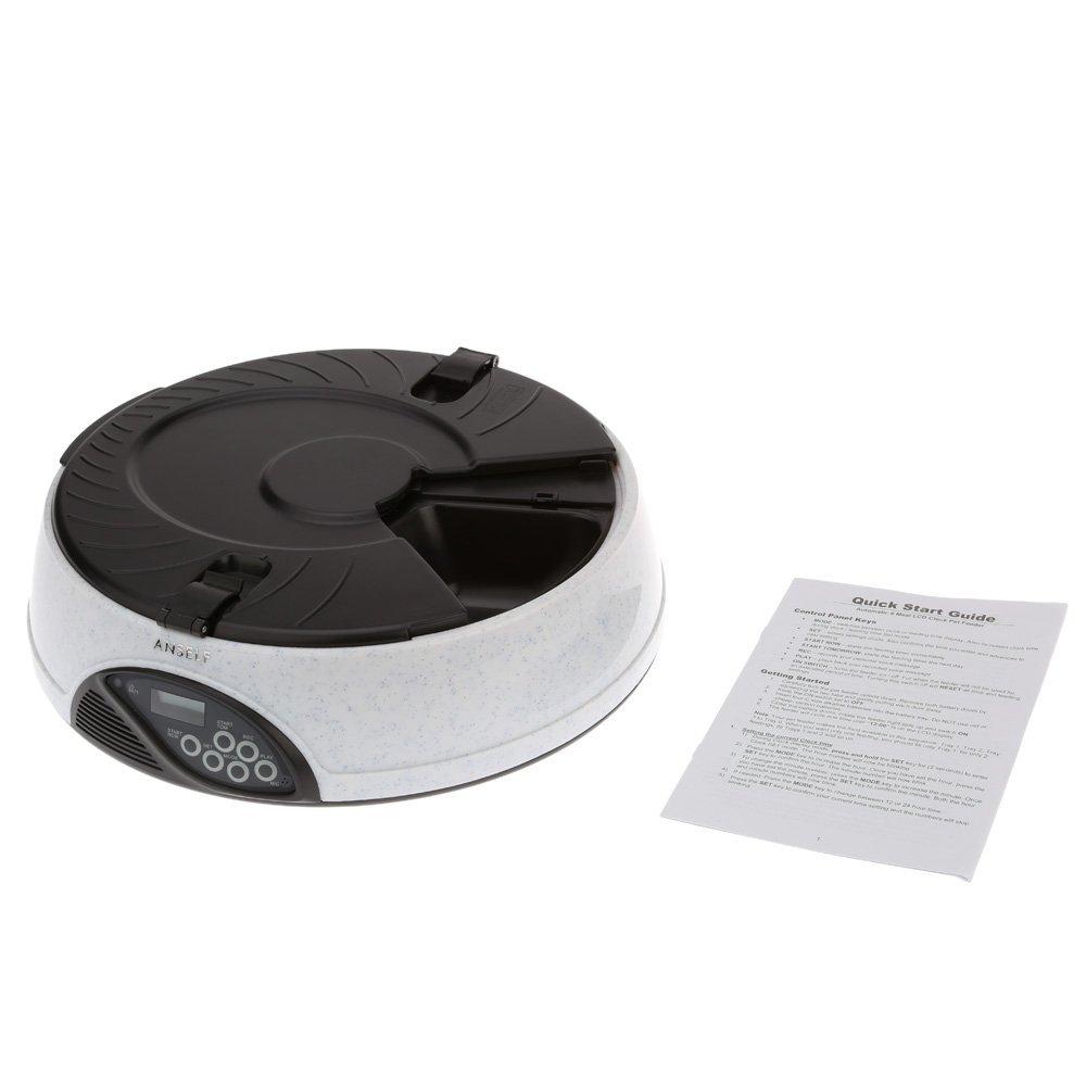 Anself H10085 - Dispensador de comida automático para mascotas (LCD, horario de comer programable), color blanco: Amazon.es: Hogar