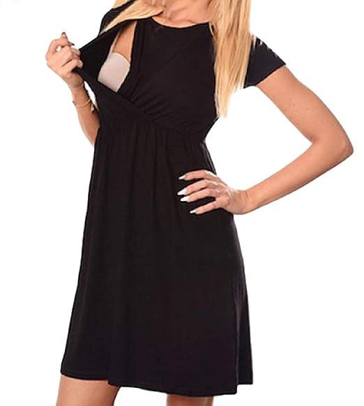c9a2a69c949d Zimaes-Women Short-Sleeve Maternity Dress Nursing Pure Colour Short Dress  Black M  Amazon.in  Clothing   Accessories