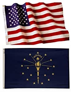 4x6 Embroidered American Flag & 3x5 Indiana Flag Made in the U.S.A. 2-Ply Spun Poly Wind Resistant