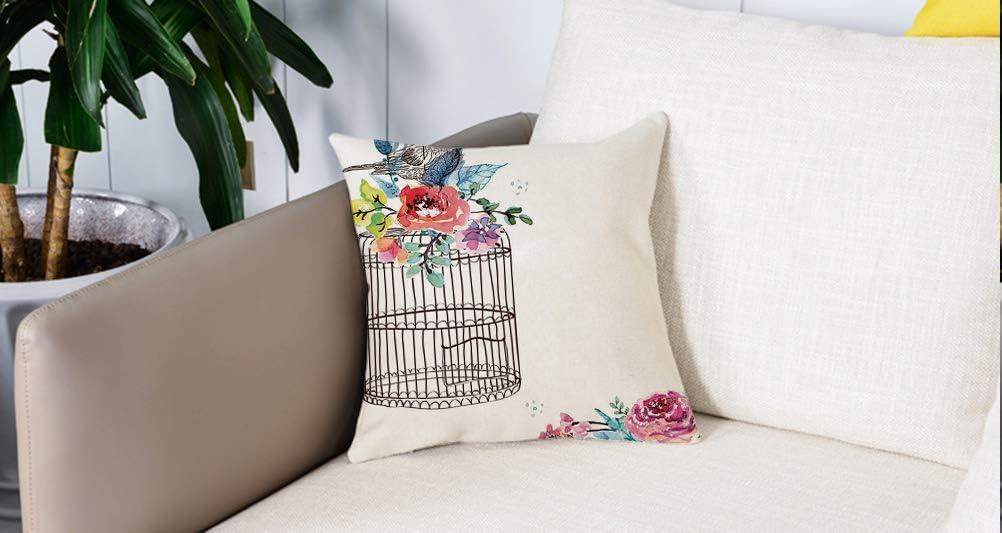 Pillow Case Cojín Cuadrado Print,Acuarela, boceto de un pájaro en una jaula vacía con coloridas flores Naturaleza Imágenes decoAdecuado para Oficina, Familia, automóvil, cafetería, Tienda, 45x45cm