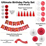 Enfy 46 pcs Red and White Birthday Party Decorations, Paper Fans, Balloons, Happy Birthday Banner With Gold Foil Letters, Pom Pom Flowers, Paper Garland, Tassels for Girl or Boy Party Decorations