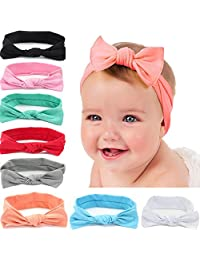 8pcs Baby Girl Headbands Stretchy Baby Hair Bows for Infant Toddler