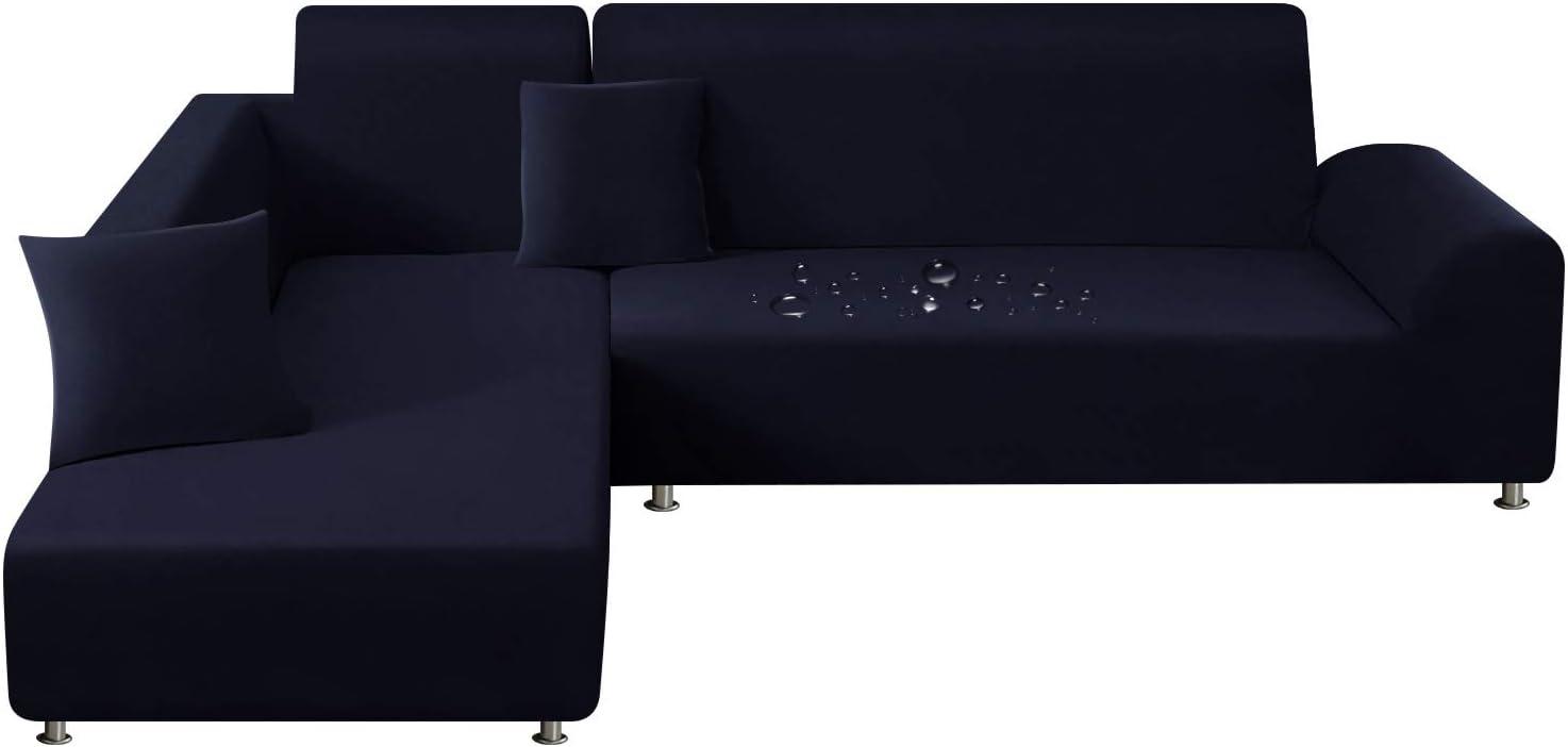 TAOCOCO Funda de sofá a Prueba de Agua Salpicaduras para Funda en Forma de L con 2 Fundas de Almohada (3 plazas + 3 plazas, Azul