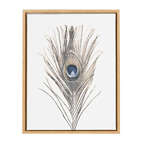Kate and Laurel Sylvie Peacock Feather Natural Framed Canvas Wall Art by Simon Te Tai ()
