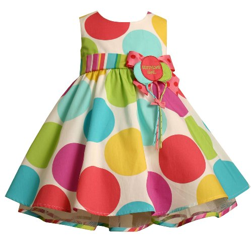 'Birthday Girl' First Birthday Polka Dot Party Dress