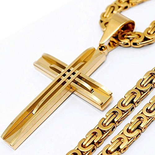 Stainless Steel Gold Tone Greek Key Cross Pendant with Byzantine Necklace (20)