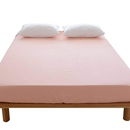 LifeTB Cotton Deep Pocket Solid Fitted Bed Sheet Queen Pink Bedding Sheet   Breathable, Premium