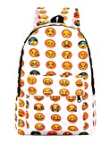 ThinkMax Unisex Students' Big Capacity Backpack Oxford Cloth QQ Emoji Expression Shoulder Bag