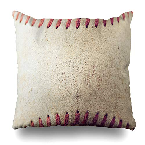 DIYCow Throw Pillows Covers Brown Aged Old Baseball Wood Filter Effect Retro Vintage Style America Home Decor Pillowcase Square Size 16 x 16 Inches Cushion Case