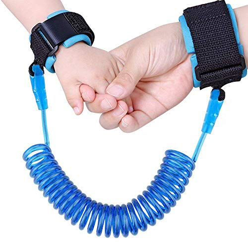 (JINSEY Baby Child Anti Lost Wrist Link Safety Harness Strap Rope Leash Walking Hand Belt Band Wristband for Toddlers, Kids (2.5m Blue))
