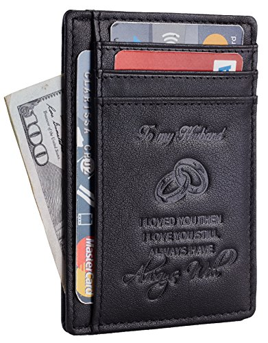 NapaWalli Wife To Husband Gift Best Anniversary Birthday Gifts For Him Genuine Leather RFID Blocking slim Wallet Card Holder (Napa Black W/ Embossed Logo)