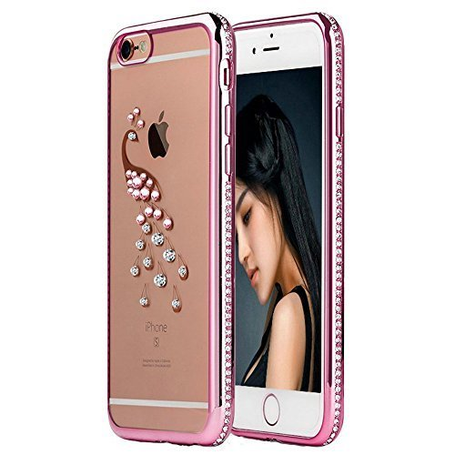reputable site dc6ed db7d2 6S Case,iPhone 6 Case,EMAXELER Bling Swarovski Crystal Rhinestone Diamond  Frame Cover for iPhone 6S,Plating Frame Flexible TPU Case for iPhone ...
