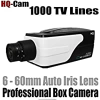 HQ-Cam(TM) Security Surveillance Box Camera - 1000 TV Color Lines High Resolution 1/3 Sony Super Chip CCD With 6-60mm Var-Focal Lens for Day Night CCTV Home Video Security