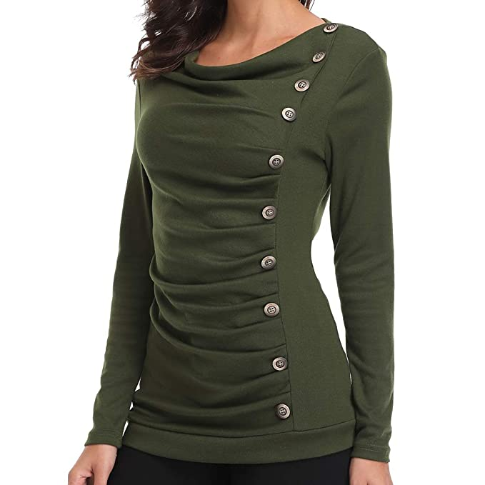 01c94c035657be Women s Long Sleeves Button Decor Ruched Front Tops Cowl Neck Tunic Blouse  Green