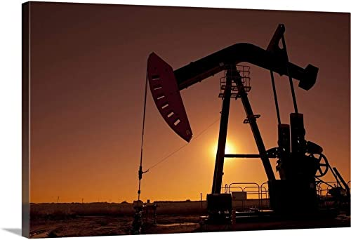 Silhouette of Oil Pump Jack on rig Canvas Wall Art Print