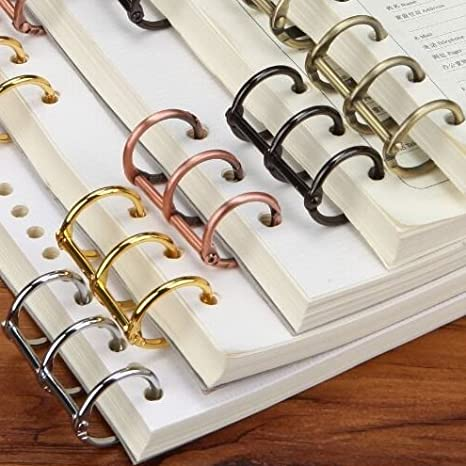 6pcs Metal Loose Leaf Book Binder Hinged Rings Keychain Bronze Album Notebook Folder Accessories School Supplies Binding Combs & Spines