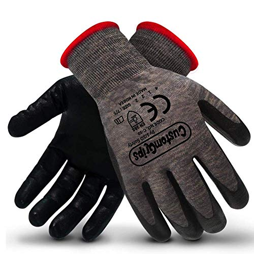 CustomGrips Cut Resistant Work Gloves. Span-Nylon Polyester Liner, Level 4 Abrasion Resistance, Nitrile Foam Palm Coated. Superior Breathability & Grip for All Day Comfort. [Small, 6 Pairs]