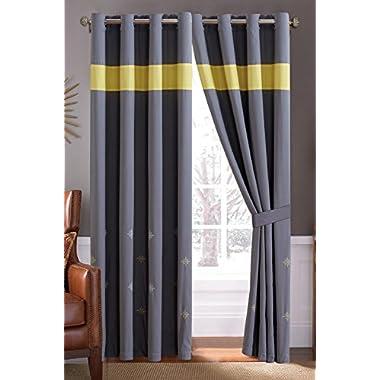 4 Piece Retro Yellow / Grey / Off-White Grommet Curtain set 120 X84