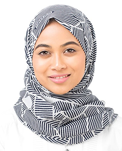 Silk Route New Medievel Blue & Glacier Grey Abstract Striper Cotton Voile Stole Scarf Ladies Wrap Hijab Regular Size