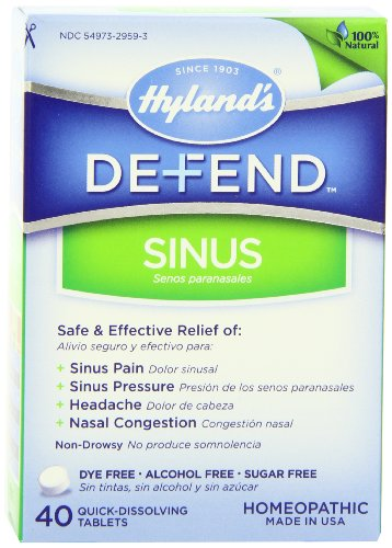 Hyland's Defend Sinus Relief Tablets, Natural Relief of Sinus Pain and Pressure, 40 Count (Headache Relief Tablets)