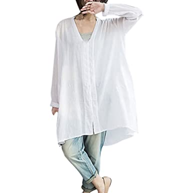 OrchidAmor Women Fashion V Neck Long Sleeve Casual Loose Large Size Shirt Blouse Button Top White