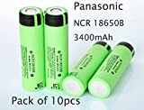 Authentic 10-Pack NCR 18650B 3400mAh Panasonic 3.7V 18650 Rechargeable Lithium Ion Battery Flat Top For Led Flashlight Torches And DIY Power Bank