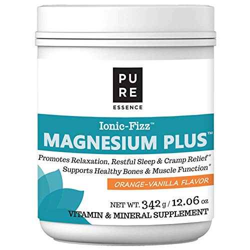 (Pure Essence Labs Ionic Fizz Magnesium Plus - Calm Sleep Aid and Natural Anti Stress Supplement Powder - Orange Vanilla - 12.06oz)