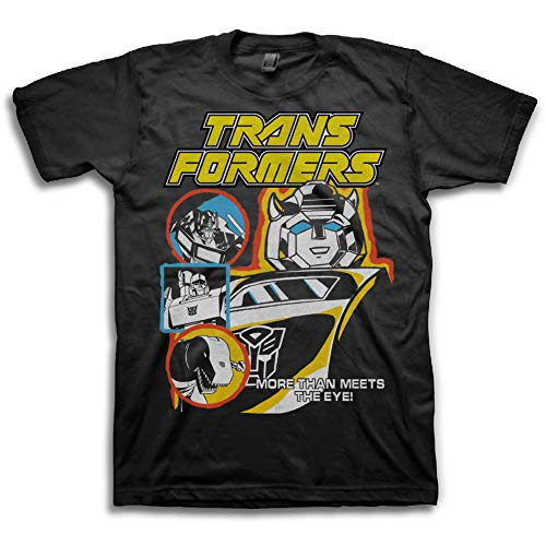 Transformers Hasbro Mens Throwback Shirt - Optimus Prime, Megatron, Bumblebee - Throwback Classic T-Shirt (Black, Small)