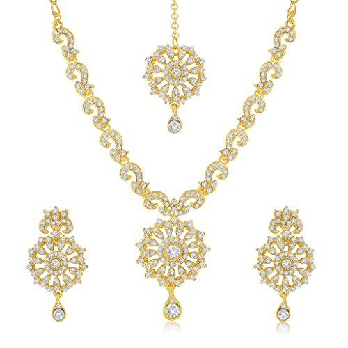 Sukkhi Fabulous Gold Plated Australian Diamond Stone Studded Necklace Set for Women