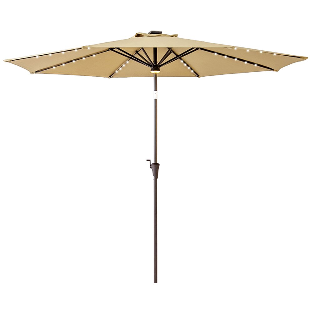 C-Hopetree 10ft Round Solar Power LED Light Outdoor Parasol Patio Market Umbrella with Crank Winder, Push Button Tilt, Beige
