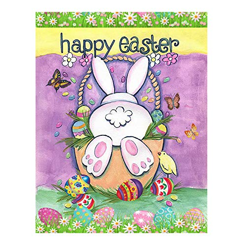 Wamika Happy Easter Eggs Bunny Tail Spring Birds Butterfly Double Sided House Flag Garden Banner 28