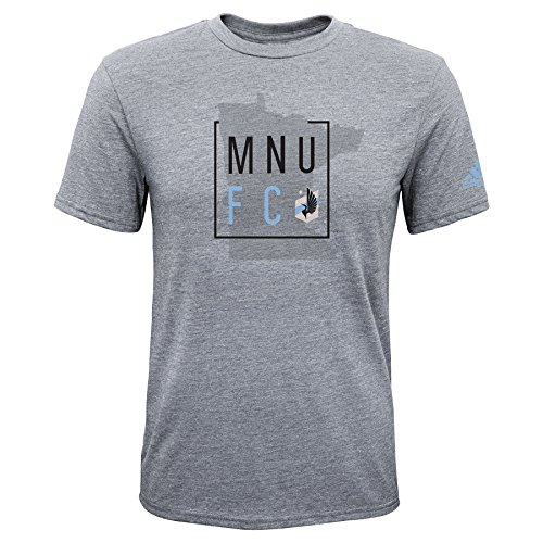 (Outerstuff MLS Minnesota United Boys -Triblend Framed Shorts Sleeve Tee, Heather Grey, Large (14-16) )