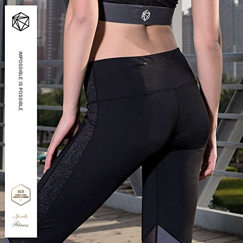 Yoga Sports Pantaloni Leggings Womens Fitness Black Strechy Da Vita Corsa 01 Wicking Alta T88OxwY