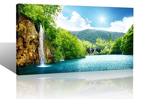Yiijeah Large Green Landscape Living Room Bedroom Wall Art Decor Lake Tree Sky Nature View Picture Canvas Print Framed Artwork Modern Home Office Decoration 24x48 (Nature Framed Picture)
