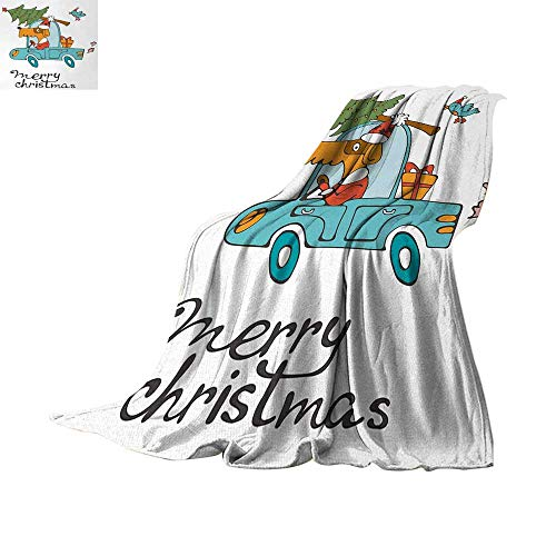 Anhuthree Christmas Super Soft Lightweight Blanket Blue Vintage Car Dog Driving with Santa Costume Cute Bird Tree and Gift Present Summer Quilt Comforter 60