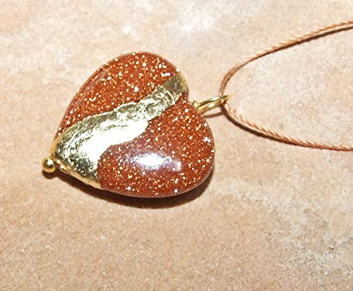 Kintsugi Goldstone Broken Heart Mended With 22k Gold Leaf, Cord Necklace, On Card ()