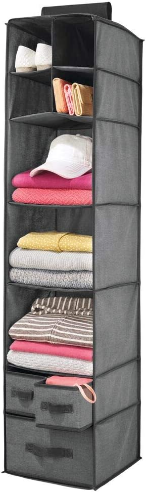 mDesign Soft Fabric Over Closet Rod Hanging Storage Organizer with 7 Shelves and 3 Removable Drawers for Clothes, Leggings, Lingerie, T Shirts - Textured Print with Solid Trim - Charcoal Gray/Black