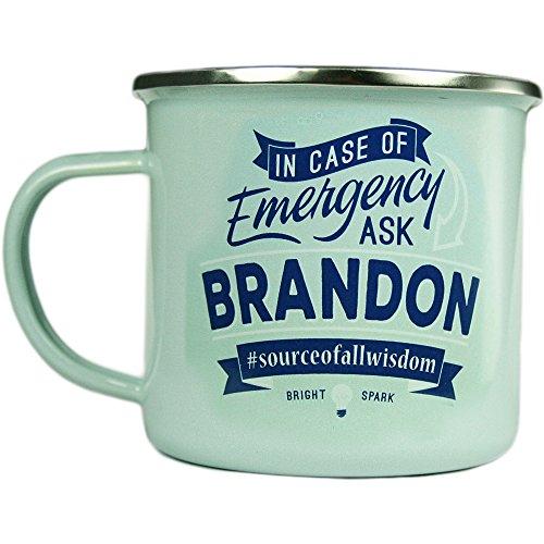 (Brandon, Large Camping Coffee Mug, Enamel, 14 oz, Multi-Colored, Light-Weight, Retro Inspired for Men)