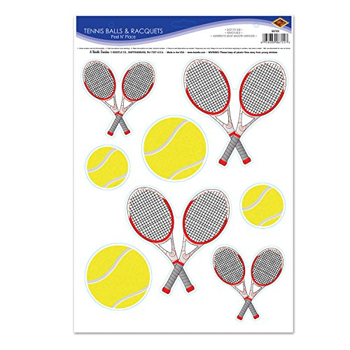 Beistle Tennis Balls and Racquets Peel 'N Place, 12