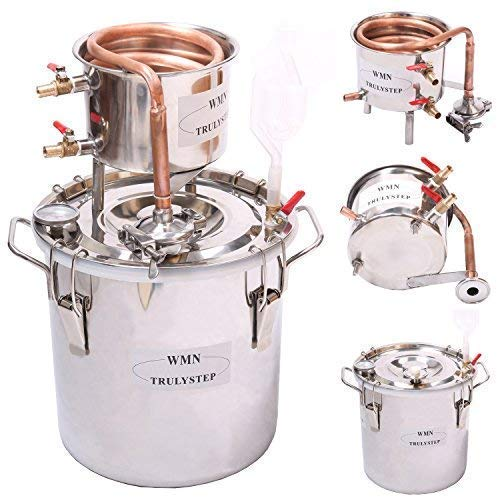 WMN_TRULYSTEP DIY 3 Gal 12 Liters Home Distiller Moonshine Alcohol Still Stainless Boiler Copper Thumper Keg ...