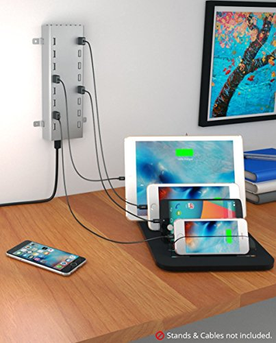 Skiva PowerFlow 16-Port / 192 Watts / 38.2 Amps Fastest Multi USB Charging Station with SmartIC for iPhone 6s plus, iPad, Samsung Galaxy, Smart Phones, Tablets. (Cables Sold Separately) [Model:AC120] by SKIVA