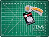 WA Portman Rotary Cutter and 9x12 Inch Self Healing Cutting Mat - Comfort Grip Rotary Cutter and Mat Set - 45mm Rotary Fabric Cutter Set with 5 Extra Blades - Rotary Cutter Set for Crafting and More