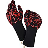 Bruella BBQ Grilling Gloves with Silicone | Extra Long Sleeves to Prevent Forearm Burns | Heat Resistant Oven Mitts to 932°F / 500°C