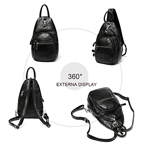 Women Anti Crossbody Theft Leather Stria Backpack Litchi Black Ladies Purse Rucksack Shoulder Yoome Bag a6dwpqa