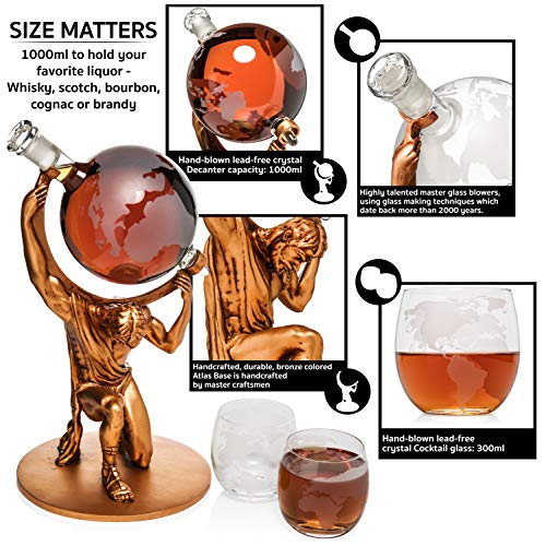 Atlas Man Whiskey Decanter Globe Set - With 2 Etched Globe Whiskey Glasses - For Whiskey, Scotch, Bourbon, Cognac and Brandy - 1000ml by NatureWorks (Image #3)