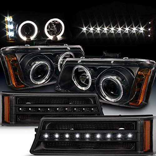 Xtune for 2003-2006 Chevy Silverado, 2003-2005 Avalanche Black Halo Projector Headlights + LED Strip Bumper Lights 2004 2005 ()