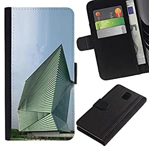 JackGot ( Architettura Astratto Edificio ) Samsung Galaxy Note 3 III la tarjeta de Crédito Slots PU Funda de cuero Monedero caso cubierta de piel
