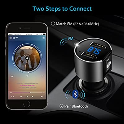 Comsoon Bluetooth FM Transmistter for Car, Wireless In-Car Bluetooth Receiver MP3 Player Radio Adapter Car Kit with 5V/2.4A&1A Dual USB Charger Ports, Hands Free Calling for iPhone,iPad, Smartphones by Bovon