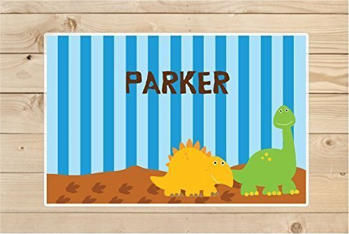 Dinosaur Placemat - Kids Personalized Placemat - Childrens Placemat - Set The Table - Activity Placemat - Laminated Place Mat (Growth Dinosaur Personalized Chart)